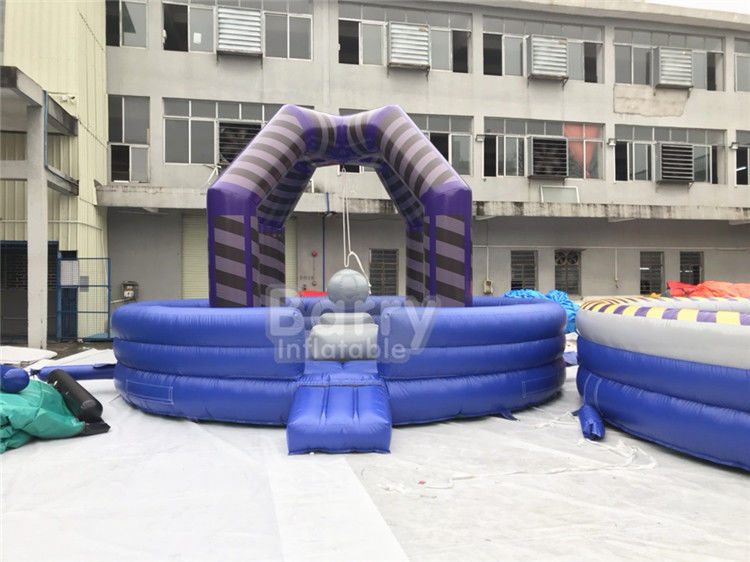 Chiny Last Man Standing Inflatable Interactive Games, Purple Outdoor Playground Equipment Wrecking Ball Game fabryka