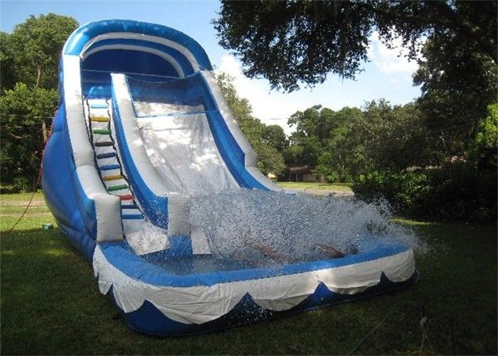 Chiny Cool Inflatable Adult Water Slide / Blue Backyard Inflatable Wet Slide fabryka
